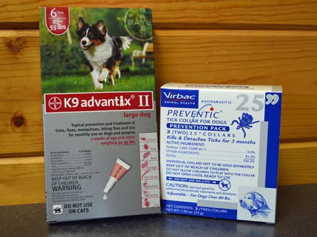 K9 Advantix II and Preventic tick collars are two products used to combat tick-borne diseases.