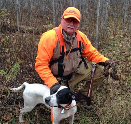 Wayne with Northwoods Magic (Dashaway x Goodgoing Moxie, 2006) with woodcock in Minnesota.