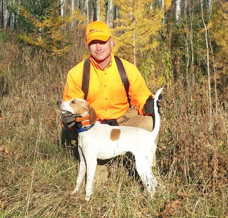 Mike Powers works with our young dogs in the grouse woods of northern Minnesota. He has Pesto (Elhew G Force x Northwoods Vixen, 2013) out for a run.