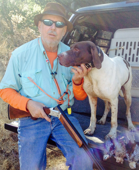Mearns hunting today on the live oak plains near Nogales. Not as many coveys as Wednesday but very good dog work. Hershey was the dog of the day….had 2 coveys and a single.