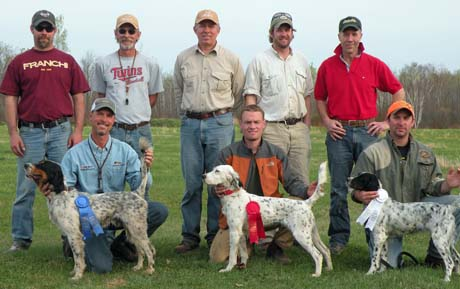 Dogs, handlers, owners, judges and others at the conclusion of a derby stake held by the  MGDA in 2012.