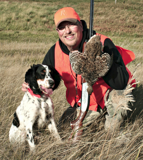 This was Finn's (Northwoods Blue Ox x Northwoods Chablis, 2014) first-ever pointed wild bird – cold, wet and windy in endless native grasses 5 miles from the northeastern corner of Montana.  It was a short point; but an excellent find and retrieve right to hand.  PRICELESS! ~ Todd Weidman
