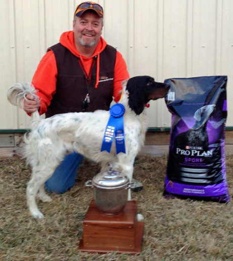 Randy Ott is proud of Northwoods Creek (Blue Shaquille x Houston's Belle's Choice, 2013) and his first place in the Open Derby at a Minnesota Grouse Dog Association spring trial. The rotating silver cup is filled with engraved names of past greats in the grouse woods.