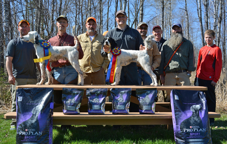 Winners and others gather after the Moose Rive Grouse Dog Club Open Derby stake. From left:  Tim Kaufman, Jerry with First Place Northwoods Rolls Royce, Judge Sig Degitz, Mr. Bjerke with Second Place Sadie, Judge Jason Gooding, Bill Frahm, Ben McKean and an unidentified youngster.