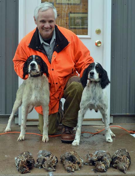 Northwoods Grits (Northwoods Blue Ox x Northwoods Chablis, 2011) and his granddam Houston's Belle's Choice (Gusty Blue x CH Houston's Belle, 2005) had a good day in the grouse woods with owner Bob Senkler.