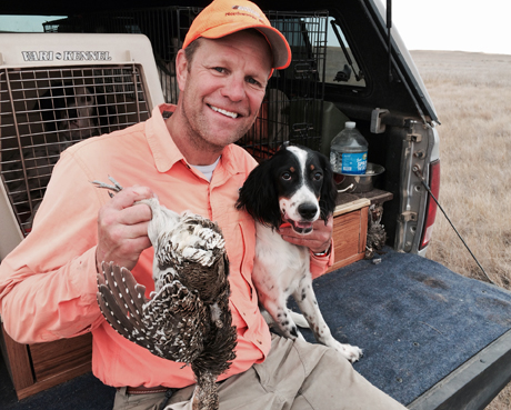 Stella's first sharp-tailed grouse. Who looks happier ??? Great job, Stella Blue. Hunting with all the Northwoods setters in Montana! ~ Laura, from Illinois