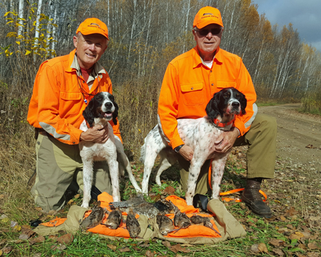 It's hard to beat an afternoon like this in autumn--two happy hunters Ken Taylor (on left) and Jim DePolo, their handsome setters Tyler (Blue Shaquille x Houston's Belle's Choice, 2011) and Morris (CH Houston's Blackjack x Northwoods Chardonnay, 2011) and evidence of some good shooting.