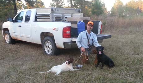 The best brace of the day is always the last one. On a Georgia quail plantation, Jerry and I ran May with a favorite pointer Basil (CH Elhew G Force x Northwoods Vixen, 2013).