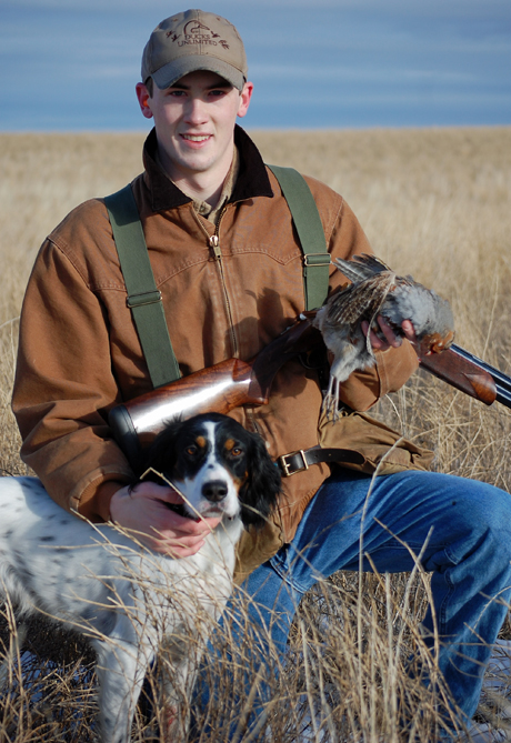 As Zada approaches three years old, I would like to thank you again for an outstanding bird dog. She has the great fortune of living in eastern Montana...hunting 90+ days every season. Pictured here with my son, Tommy and a hun. ~ Tom, Montana, owner of Zada (CH Ridge Creek Cody x Northwoods Chardonnay, 2013)