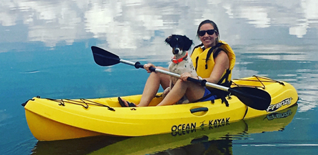 John and I ran Dixie out at a state park on Saturday with her new ecollar! She did amazingly well! The area was covered with cactus and it didn't slow her down at all! She was a tough cookie! She handled very easily and often responded to a whistle or call without the need to correct or beep her on the collar. She learned to swim in the reservoir after the hike and then rode around in a kayak with me for about 45 minutes! ~ Isabel, Texas, owner of Dixie (CH Shadow Oak Bo x Northwoods Carbon, 2016)